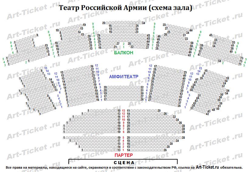 Схема зала театра Российской